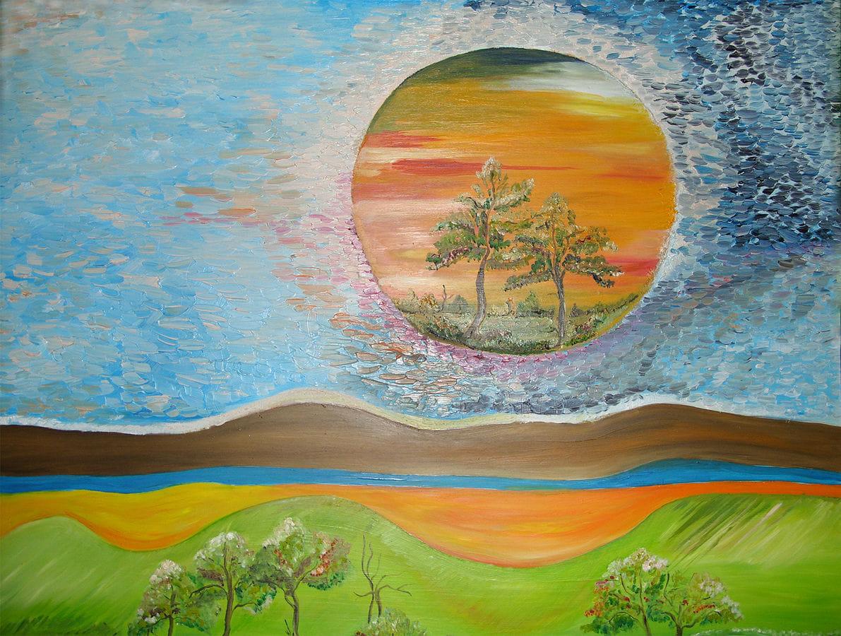 Malbild: Eine Landschaft mit Sonne, in der wiederum Bäume wachsen.