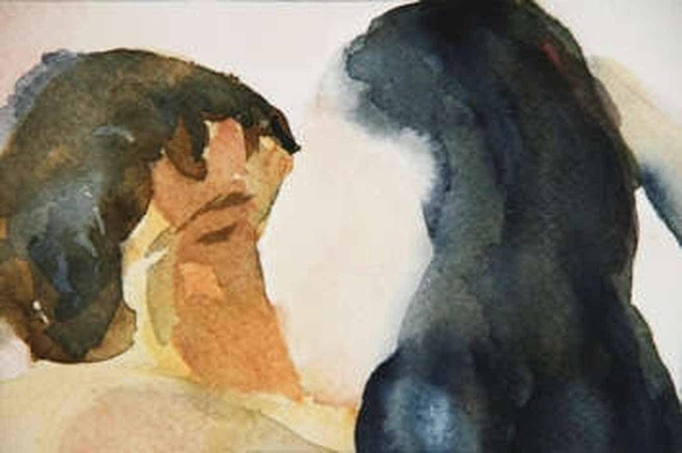 Gemälde: Ein Mann und eine Frau küssen sich.