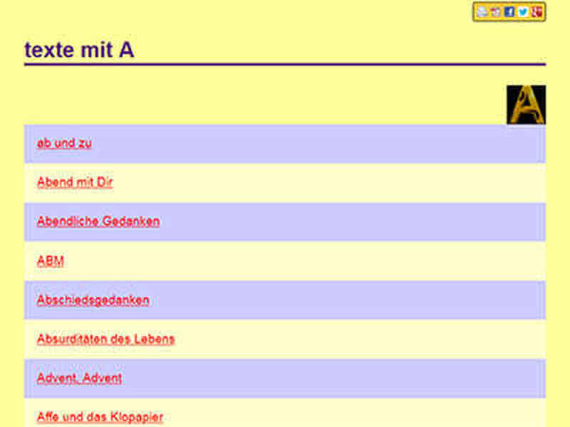 Bildschirm-Foto: Hier sind die abwechselnd violett und beige gefärbten Link-Hintergründe zu sehen.