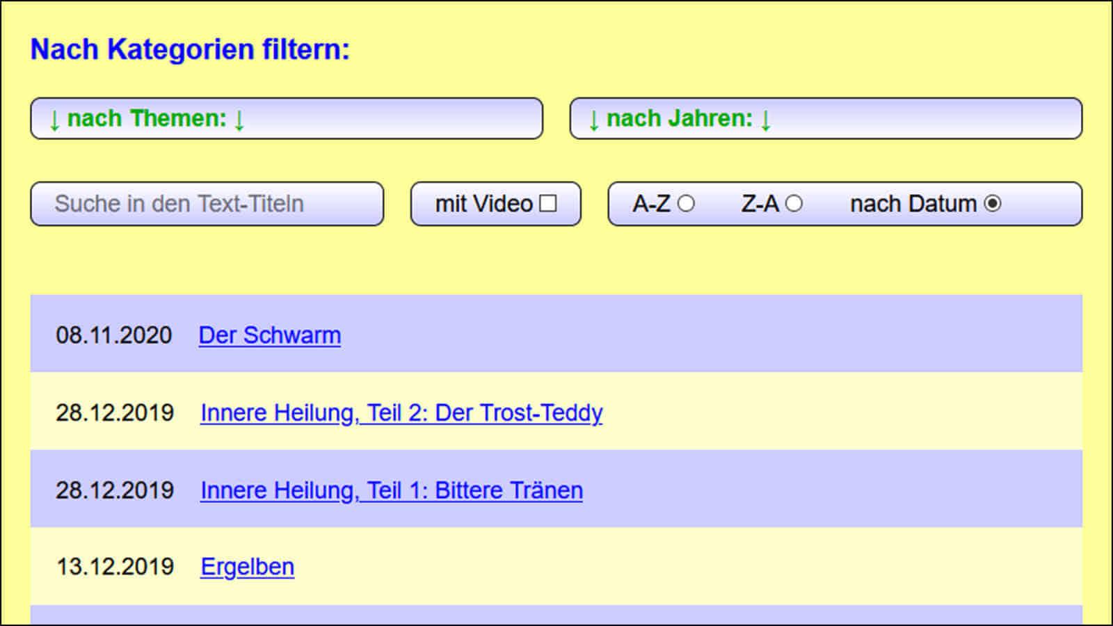 Bildschirmfoto: Hier sieht man die 7 Filter über der Texte-Liste.