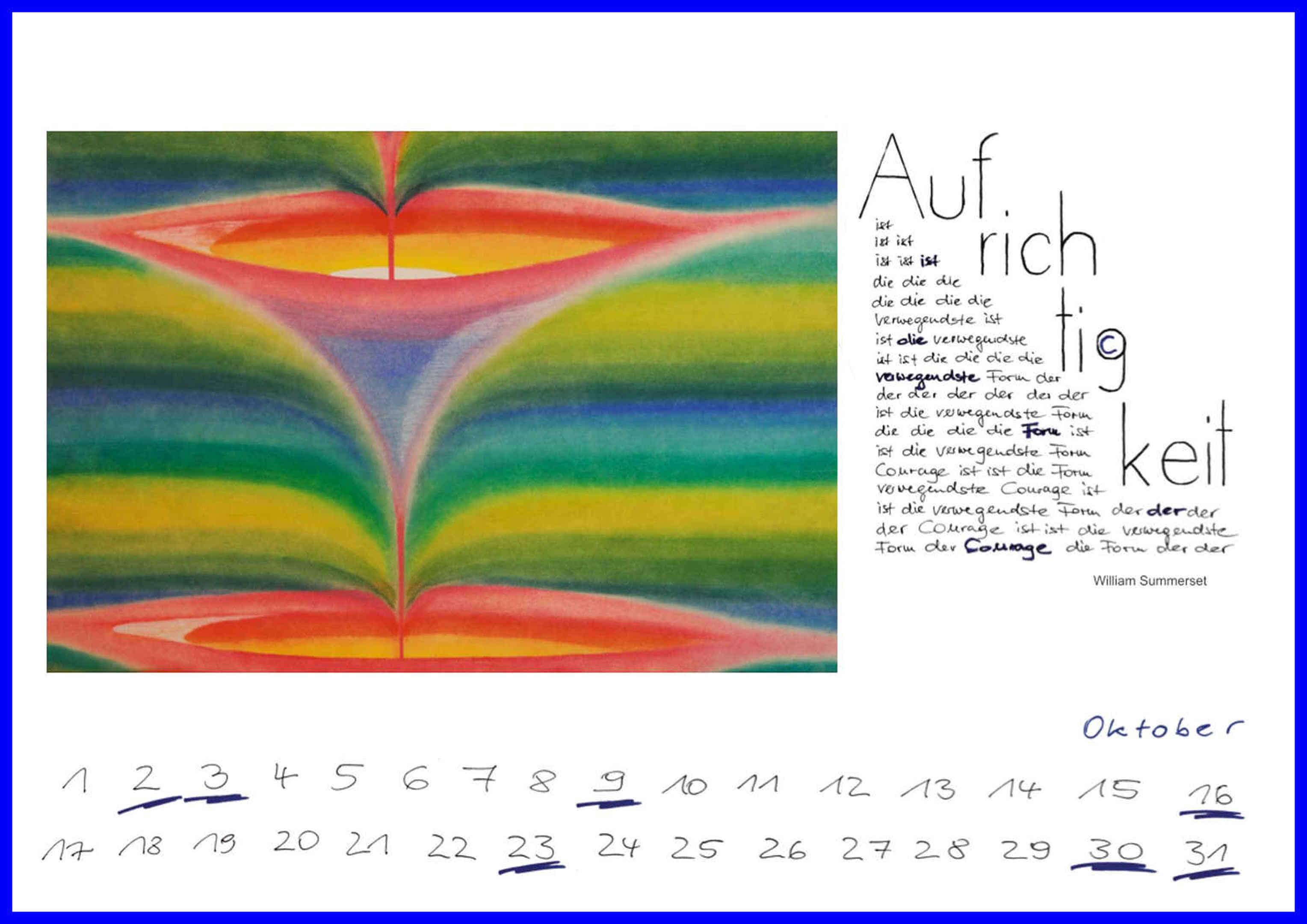 Grafik: Die Kalender-Vorderseite des Oktoberblattes.