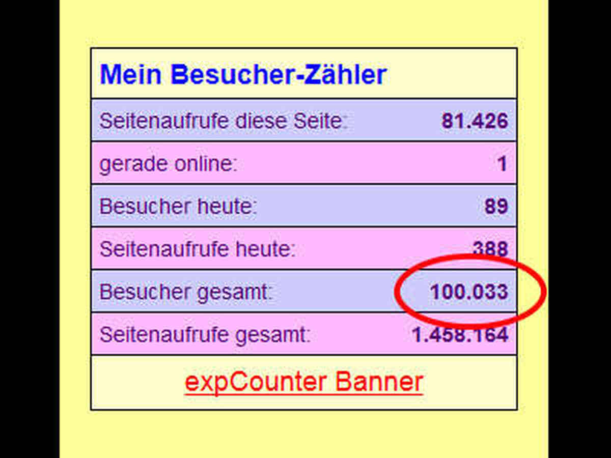 Bildschirmfoto: Hier ist die Zahl meiner Besucher zu sehen.