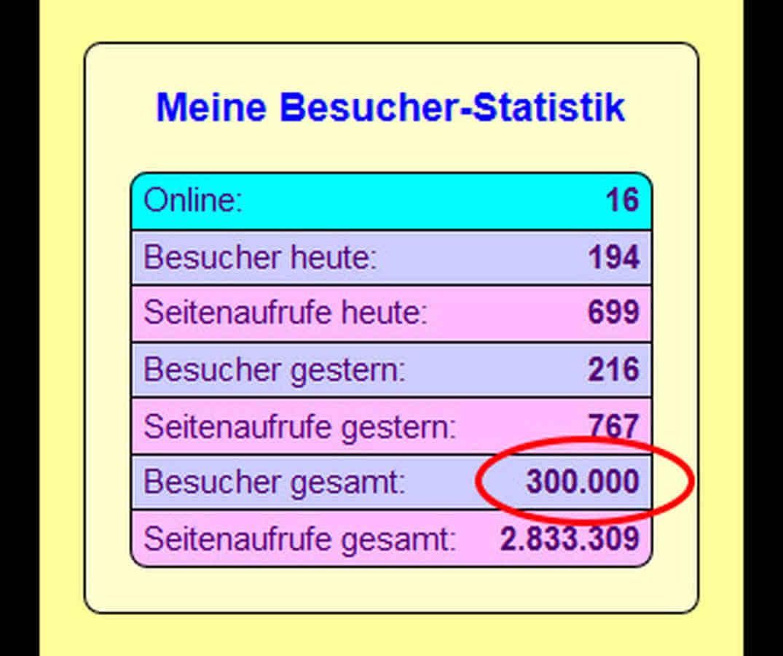 Grafik: Der Zähler für meine Besucher ist rot umrandet und zeigt die 300.000 an.
